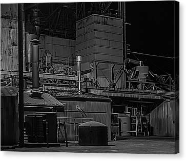 Feed Mill Canvas Print - Petaluma Mill Black And White by Bill Gallagher