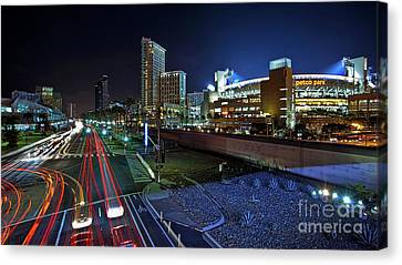 San Diego California Baseball Stadiums Canvas Print - Petco Park And Downtown San Diego by Sam Antonio Photography