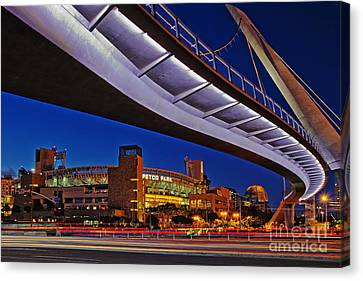 San Diego California Baseball Stadiums Canvas Print - Petco Park And The Harbor Drive Pedestrian Bridge In Downtown San Diego  by Sam Antonio Photography