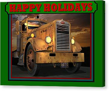 Canvas Print featuring the digital art Pete Ol' Yeller Happy Holidays by Stuart Swartz