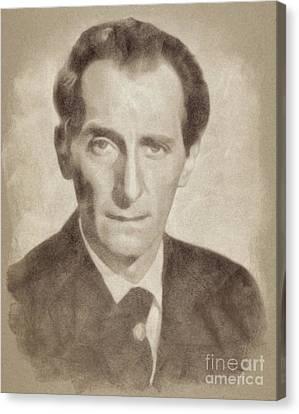 Peter Cushing, Acting Legend By John Springfield Canvas Print by John Springfield