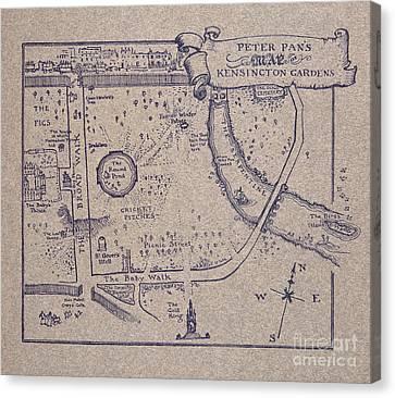 Peter Pan's Map Of Kensington Gardens Canvas Print by Arthur Rackham
