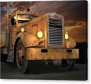 Old Trucks Canvas Print - Peterbilt Ol Yeller by Stuart Swartz