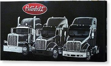 Canvas Print featuring the painting Peterbilt Trucks by Richard Le Page