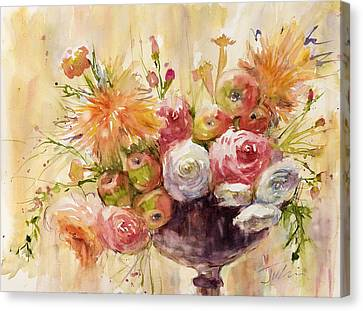 Petite Apples In Floral Canvas Print by Judith Levins