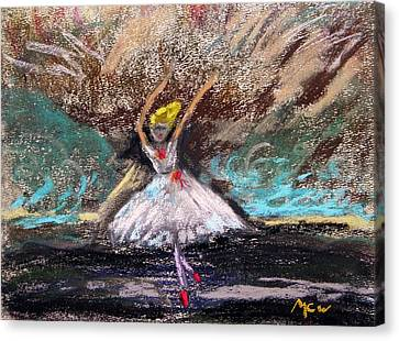 Canvas Print featuring the painting Petite Ballerina by Mary Carol Williams