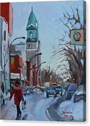 Petite Italie, Montreal Winter Scene Canvas Print