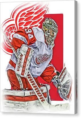Skating Canvas Print - Petr Mrazek Detroit Red Wings Oil Art by Joe Hamilton