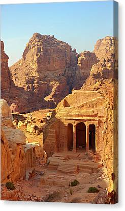 Petra Buildings, Pond And Gardens Complex Canvas Print by Nicola Nobile