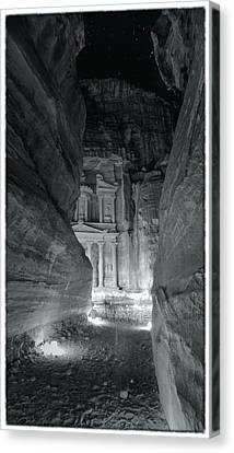 Petra Siq Night Canvas Print by Stephen Stookey