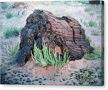 Canvas Print featuring the painting Petrified Log In Arizona by Cindy Lee Longhini