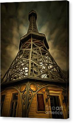 Petrin Lookout Tower - Mixed Media Canvas Print by Michal Boubin