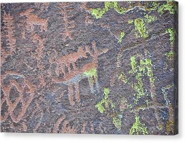 Petroglyph Wolf Attack Canvas Print