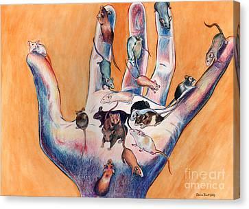Pets - Mice On Hand Canvas Print by Deanna Yildiz