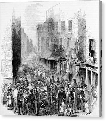 Petticoat Lane, London, On A Sunday Canvas Print by Everett