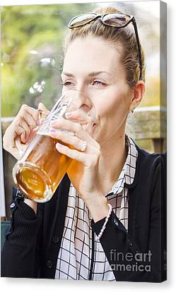 Petty Woman Drinking Beer Stein During Oktoberfest Canvas Print by Jorgo Photography - Wall Art Gallery