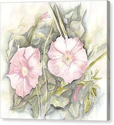 Canvas Print featuring the painting Petunias by Jackie Mueller-Jones