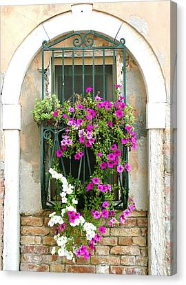 Canvas Print featuring the photograph Petunias Through Wrought Iron by Donna Corless