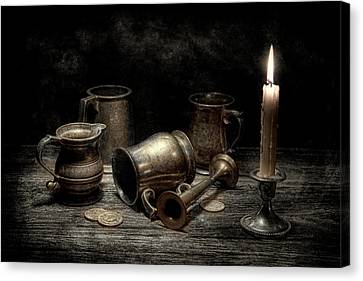 Candle Lit Canvas Print - Pewter Still Life I by Tom Mc Nemar
