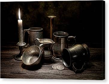 Candle Lit Canvas Print - Pewter Still Life II by Tom Mc Nemar
