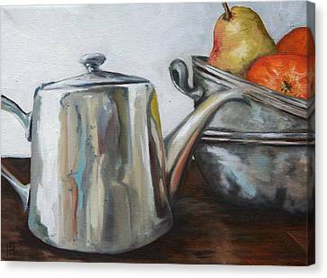 Pewter Teapot And Bowls Canvas Print by Amy Higgins