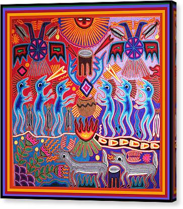Peyote Shaman Hunting Ritual Canvas Print by Vagabond Folk Art - Virginia Vivier