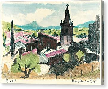 Canvas Print featuring the painting Peyruis Village In Provence by Martin Stankewitz