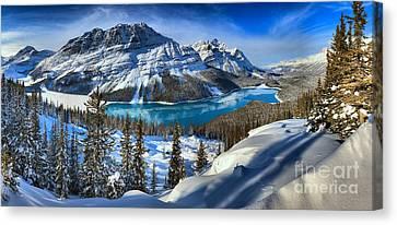 Peyto Lake Winter Panorama Canvas Print by Adam Jewell
