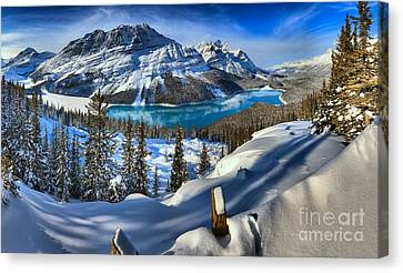 Peyto Lake Winter Paradise Canvas Print by Adam Jewell