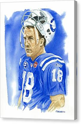 Peyton Manning - Heart Of The Champion Canvas Print by George  Brooks