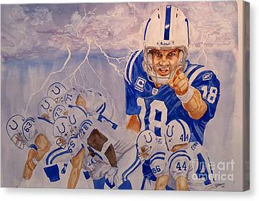 Peyton Manning - Perfect Storm Canvas Print by George  Brooks