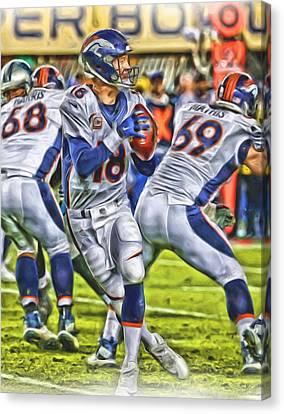 Peyton Manning Broncos Oil Art Canvas Print