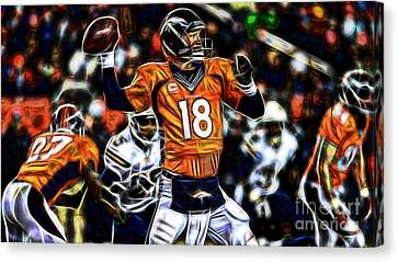 Peyton Manning Collection Canvas Print by Marvin Blaine