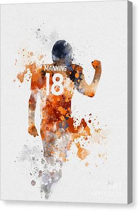 Peyton Manning Canvas Print by Rebecca Jenkins