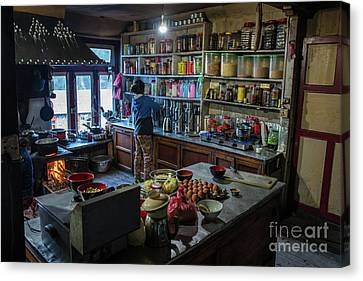 Canvas Print featuring the photograph Phakding Teahouse Kitchen Morning by Mike Reid