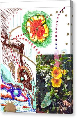 Canvas Print featuring the drawing Phantasy On Yellow Hibiscus by Rod Ismay
