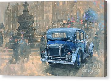 Vintage Car Canvas Print - Phantom In Piccadilly  by Peter Miller