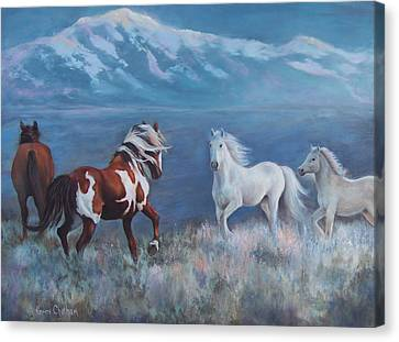 Horse Lover Canvas Print - Phantom Of The Mountains by Karen Chatham