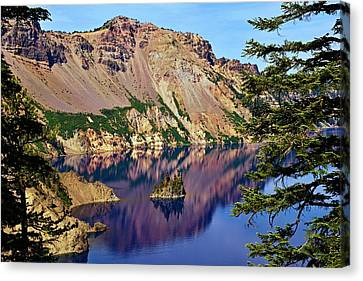 Phantom Ship In Crater Lake Canvas Print by Michael Courtney