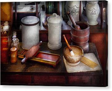 Personalized Canvas Print - Pharmacist - Equipment For Making Pills  by Mike Savad