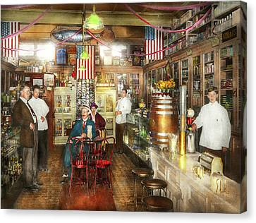 Pharmacy - Collins Pharmacy 1915 Canvas Print by Mike Savad