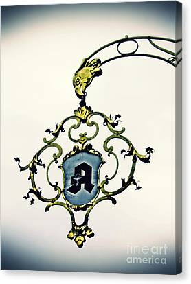 Pharmacy Sign In Wiesbaden      Canvas Print by Sarah Loft