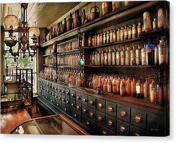 Medicine Canvas Print - Pharmacy - So Many Drawers And Bottles by Mike Savad