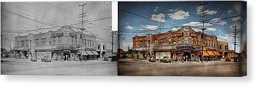 Canvas Print featuring the photograph Pharmacy - The Corner Drugstore 1910 - Side By Side by Mike Savad