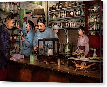 Canvas Print featuring the photograph Pharmacy - The Dispensing Chemist 1918 by Mike Savad