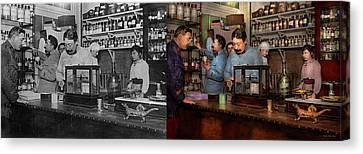 Canvas Print featuring the photograph Pharmacy - The Dispensing Chemist 1918 - Side By Side by Mike Savad