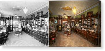 Pharmacy - Weller's Pharmacy 1915 Side By Side Canvas Print by Mike Savad
