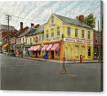 Pharmacy - Wl Bond Drugs And Seeds 1927 Canvas Print by Mike Savad