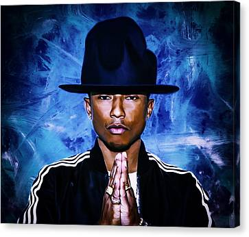 Pharrell Williams Happy II Canvas Print by Brian Reaves