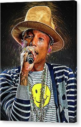 Daft Punk Canvas Print - Pharrell Williams by Semih Yurdabak
